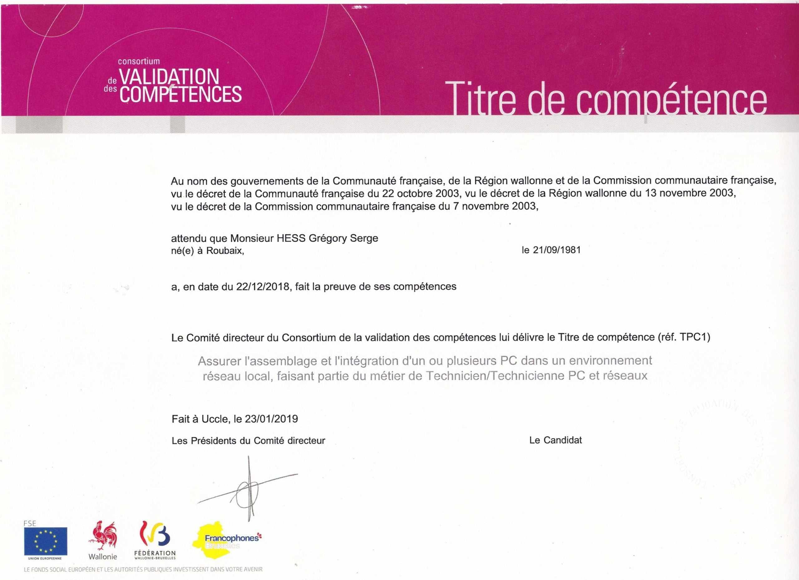 Certificat de compétances- Technicien PC & Réseaux TPC2