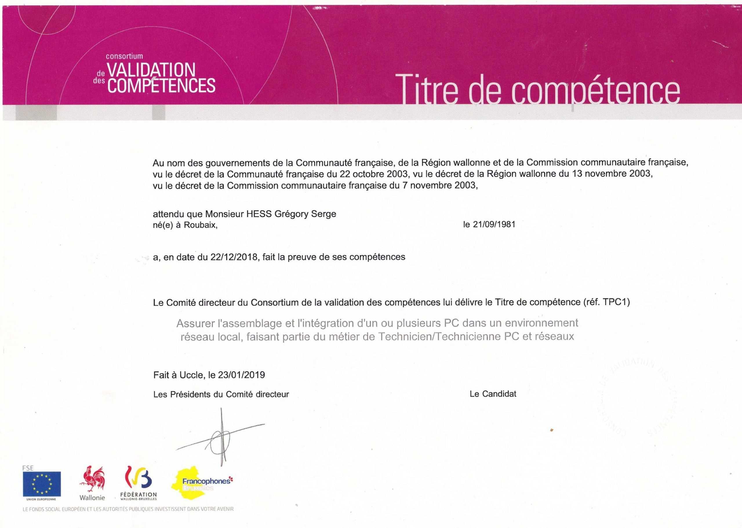 Certificat de compétances- Technicien PC & Réseaux TPC1