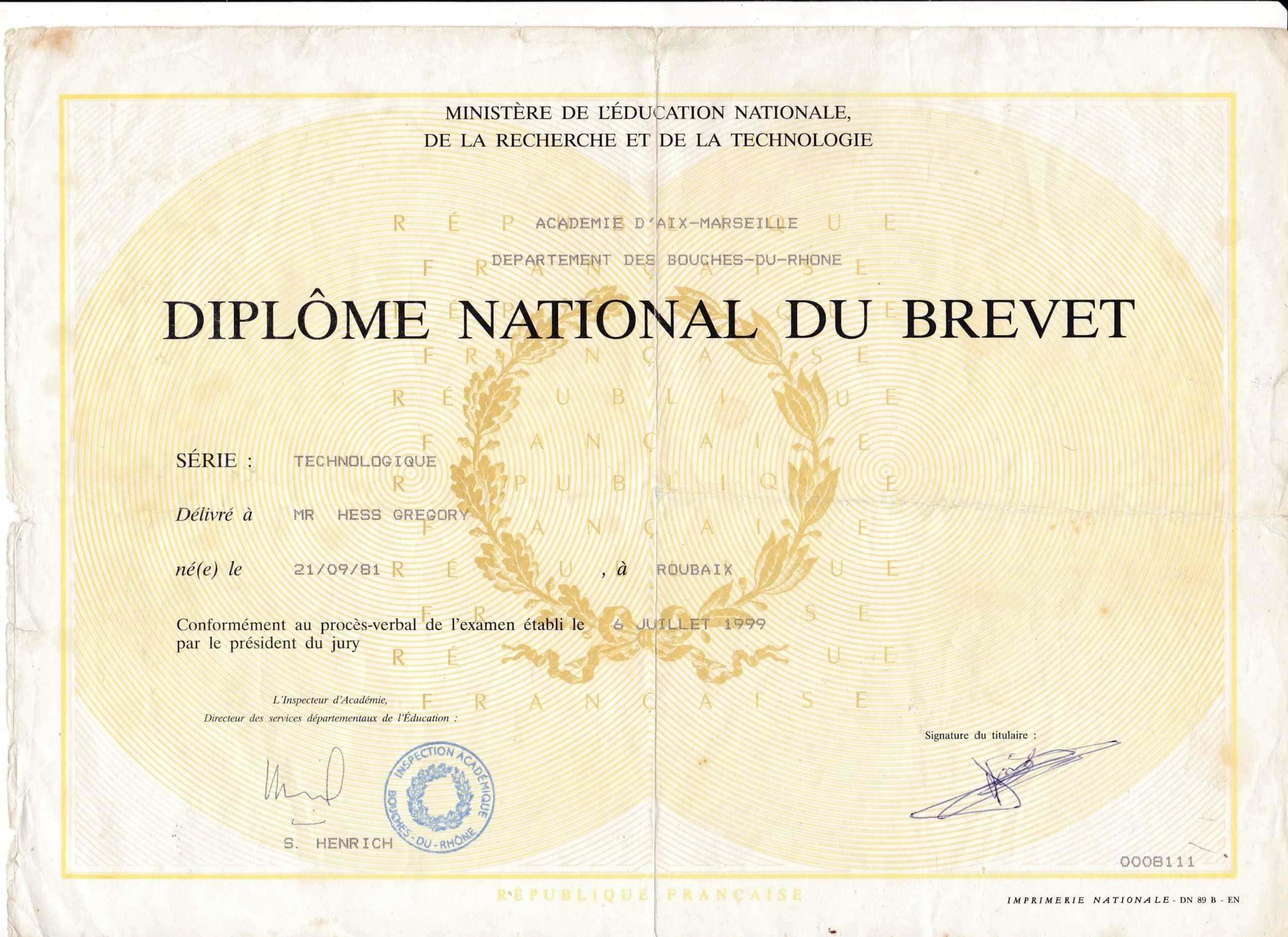 Diplôme National du Brevet .