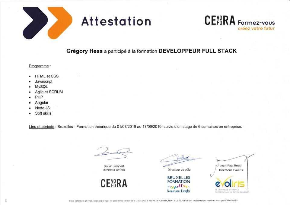 Formation CEFORA - Developpeur Full Stack (JavaScript)
